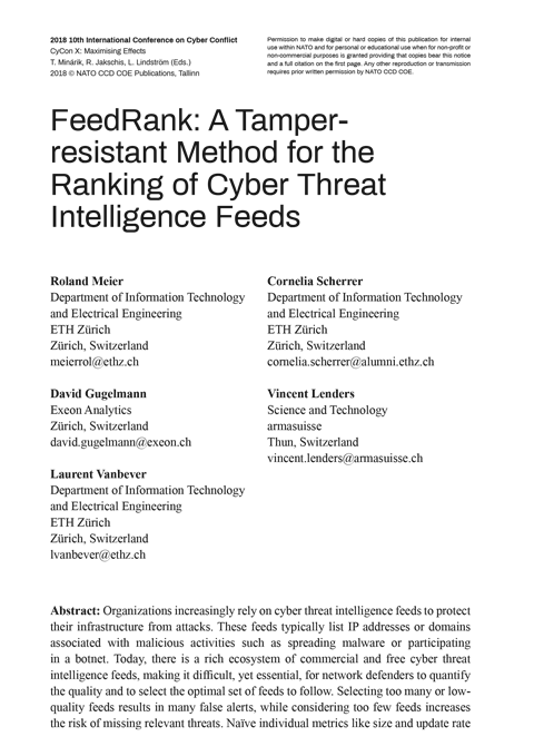 FeedRank: A Tamper-resistant Method for the Ranking of Cyber Threat Intelligence Feeds